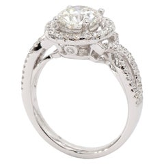 18 Karat White Gold Round Brilliant Diamond Halo Engagement Ring EGL Certified