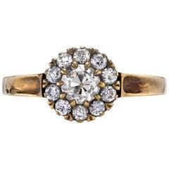 0.47 Carat Brown/VS Old Mine Cut Diamond with 0.35 Carat Diamond Surround Ring