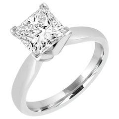 Classic 0.50 Carat Princess Cut Diamond Engagement 14 Karat White Gold Ring