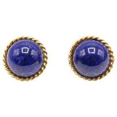 Royal Blue Lapis Lazuli Gold Braid Edge Ear Clips