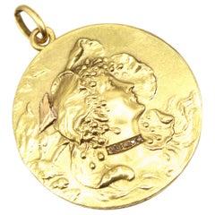 Art Nouveau French Gold Diamond Medallion Pendant