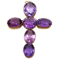 Amethyst Gold Victorian Cross Pendant Necklace
