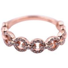 14 Karat Rose Gold Diamond Circle Link Band