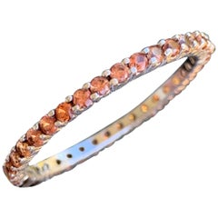 Orange Sapphire Round Eternity Wedding Band, 14 Karat Gold, Ben Dannie
