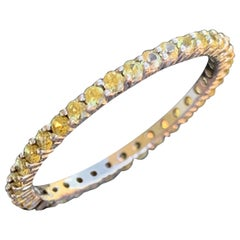 Yellow Sapphire Round Eternity Wedding Band, 14 Karat White Gold, Ben Dannie