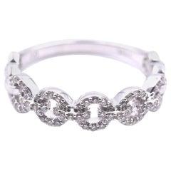 14 Karat White Gold Diamond Circle Link Band