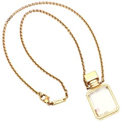 Chopard Diamond Ruby Happy Bottle Yellow Gold Pendant Necklace