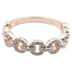 14 Karat Yellow Gold Diamond Circle Link Band