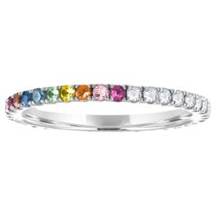 Half Rainbow Half Diamond Round Eternity Band, 14 Karat Gold, Ben Dannie