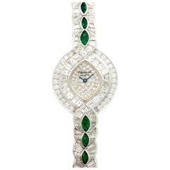 Chopard White Gold Baguette Diamond and Emerald Watch