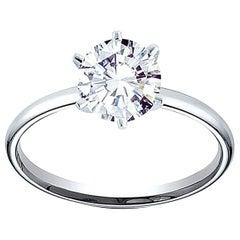 GIA Round Brilliant Cut Diamond Engagement in Platinum 950 Setting