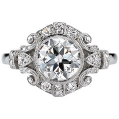1.51 Carat Old European Cut Diamond Platinum Engagement Ring
