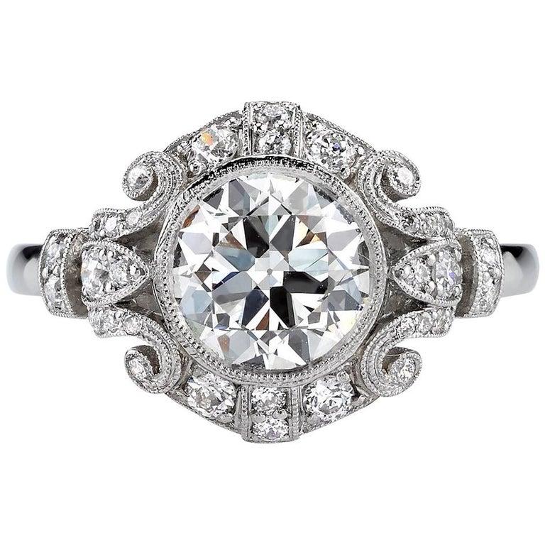 1.51 Carat Old European Cut Diamond Platinum Engagement Ring For Sale