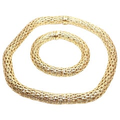 Fope Italy Set of Mesh Yellow Gold Necklace and Bracelet
