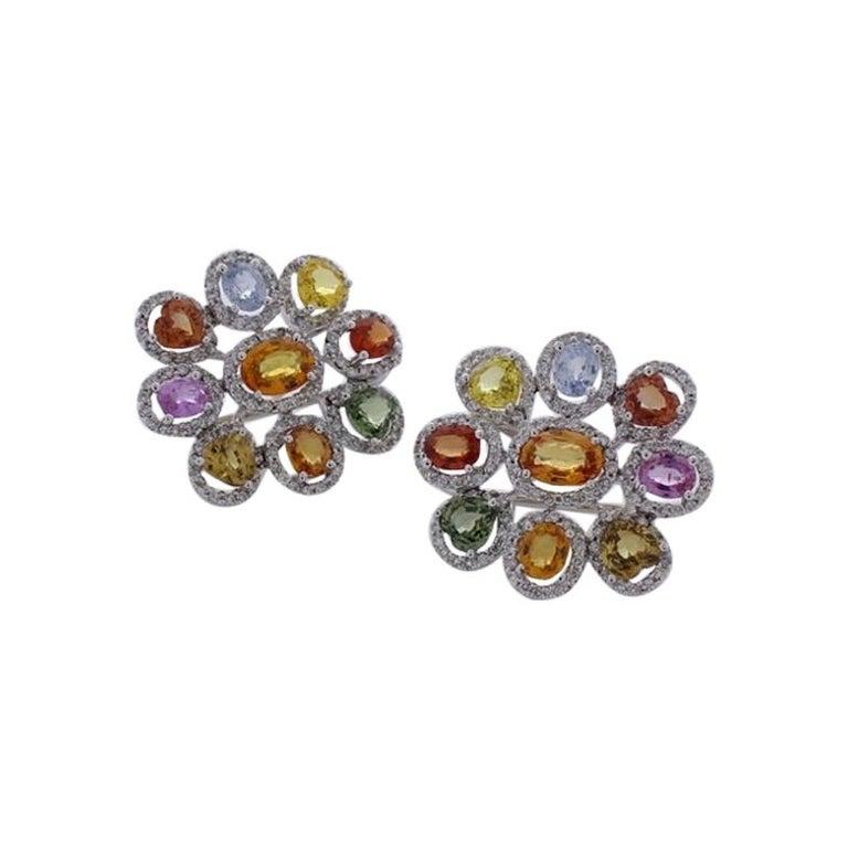 10.00 Carat Total Multi-Color Sapphire & Diamond Earrings in 18 Karat White Gold For Sale