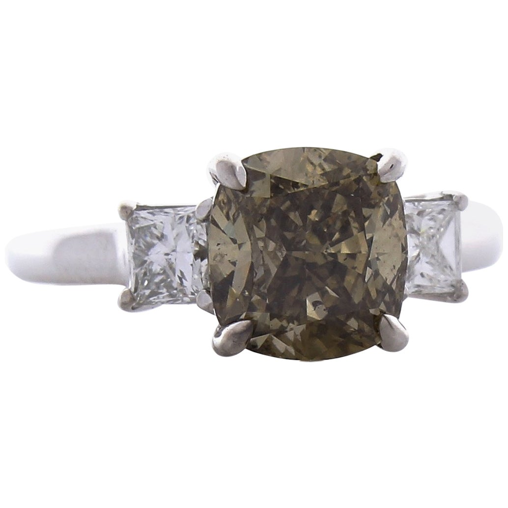 GIA Certified 3.00 Carat Cushion Cut Fancy Brown Diamond Cocktail Ring