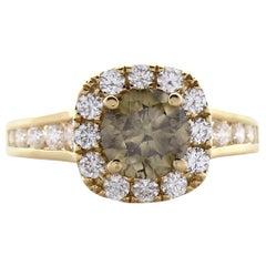1.35 Carat Fancy Dark Greenish Yellow Brown Diamond Cocktail Ring In 18 K Gold