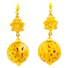 Yellow Orange Sapphire and Natural Amber Yellow Carved Jade Ball Drop Earrings