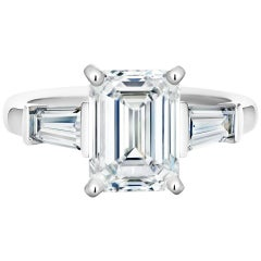 GIA Emerald Cut Diamond Engagement in Platinum 950 Setting