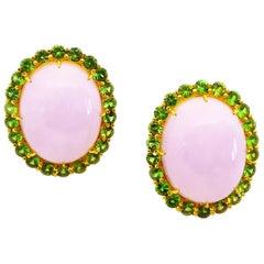 Natural Lavender Jade 4 Carats Green Tsavorite Garnet 18 Karat Gold Earrings