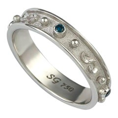 Georgios Collections 18 Karat White Gold Thin Blue Diamond Band Granulation Ring