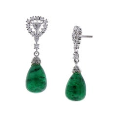 16.54 Carat Total Cabochon Emerald & Diamond Earrings in 18 Karat White Gold