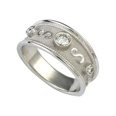 Georgios Collections 18 Karat White Gold Diamond Ring with Granulation