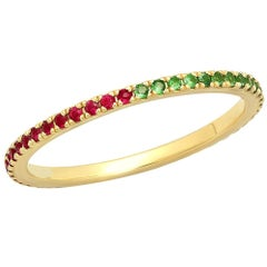 Half Ruby Half Tsavorite Eternity Band, 14 Karat Gold, Ben Dannie