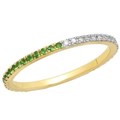 Half Tsavorite Half Diamond Eternity Band, 14 Karat Gold, Ben Dannie