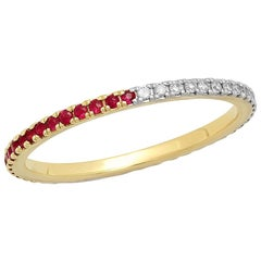 Half Ruby Half Blue Sapphire Eternity Band, 14 Karat Gold, Ben Dannie