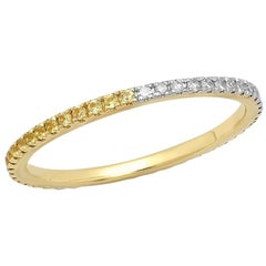 Half Yellow Sapphire Half Diamond Eternity Band, 14 Karat Gold, Ben Dannie