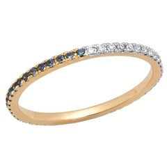 Half Blue Sapphire Half Diamond Eternity Band, 14 Karat Gold, Ben Dannie