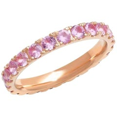 Pink Sapphire Band Eternity Band, 14 Karat Gold, Ben Dannie