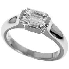 Harry Winston 1.11 Carat Platinum Emerald Cut Diamond Modern Ring US 4 1/2