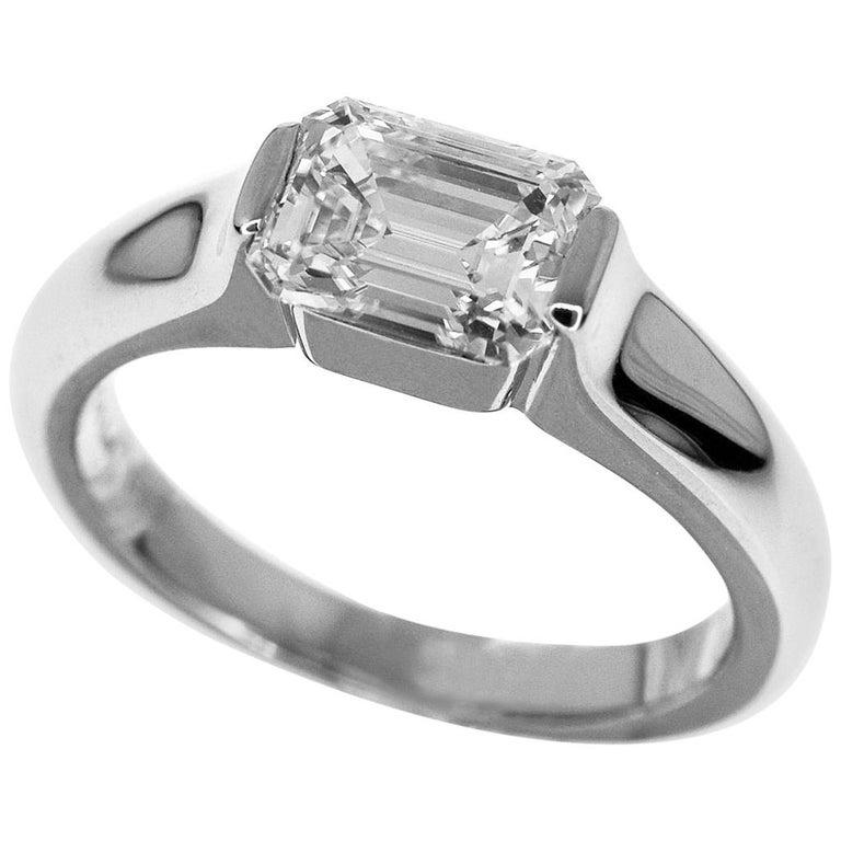 Harry Winston 1 11 Carat Platinum Emerald Cut Diamond Modern Ring For Sale At 1stdibs