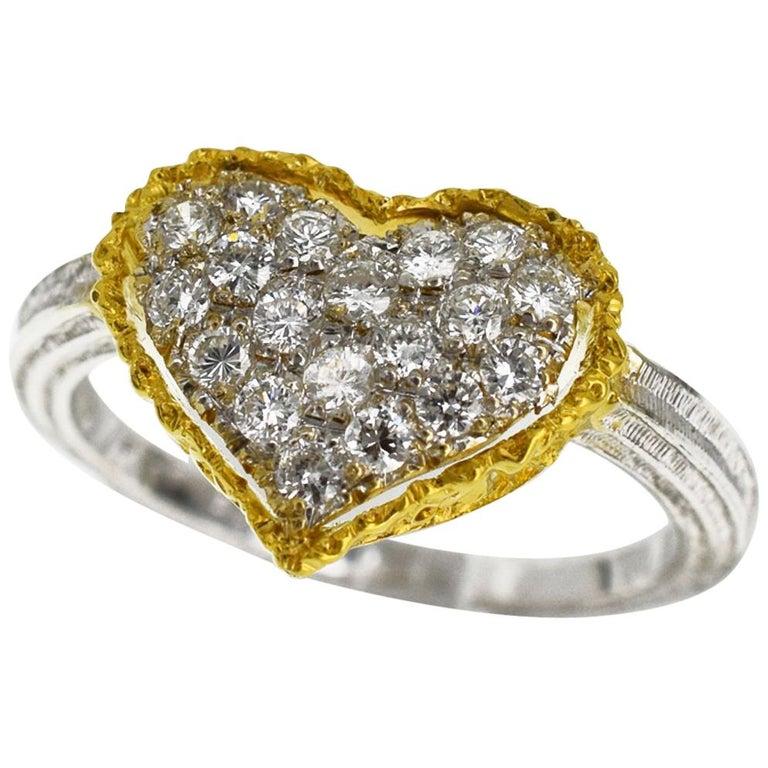 Gianmaria Buccellati 18 Karat Yellow Gold Heart Design Diamonds Ring For Sale