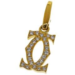 Cartier Diamond 18 Karat Yellow Gold Double 2C Charm