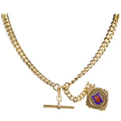 Antique Victorian Albert Chain Gold-Plated Silver Necklace, circa 1900