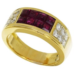 Cartier 18 Karat Yellow Gold Diabolo Diamond Mystery Invisible Set Ruby Ring