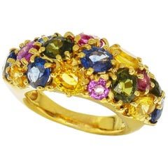 Chaumet Multi-Color Sapphire 18 Karat Yellow Gold Anneau Ring