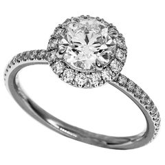 Harry Winston 1.03 Carat D-VS1-3Ex Diamond Platinum Micropavé GIA Ring