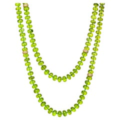 Joon Han Peridot Beads 14K Diamond Spacers 18K Gold Clasp Necklace