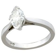 Marquise 0.96 Carat Diamond and Platinum Solitaire Engagement Ring