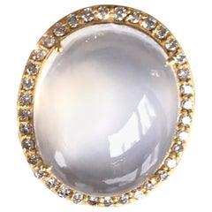 Joon Han White Moonstone Diamond 18K Yellow Gold Cocktail Ring