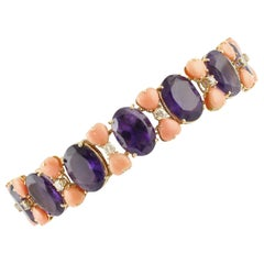 Amethyst, Pink Corals and Diamonds Link Bracelet