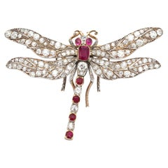 Antique Victorian Ruby and Diamond Yellow Gold Dragonfly Brooch