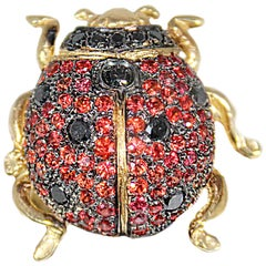 Gold Ladybird Ring with Black Diamonds and Red Sapphires