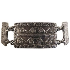 Retro Silver Panel Bracelet with Floral Engraving, circa 1945