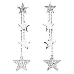 Earrings with Pendent Diamond Stars 18 Karat White Gold