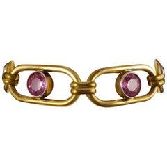 Antique Edwardian Panel Paste Bracelet in Rolled Gold